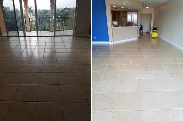 Before & After Interior Stone Floor Cleaning in Hallandale Beach, FL (1)